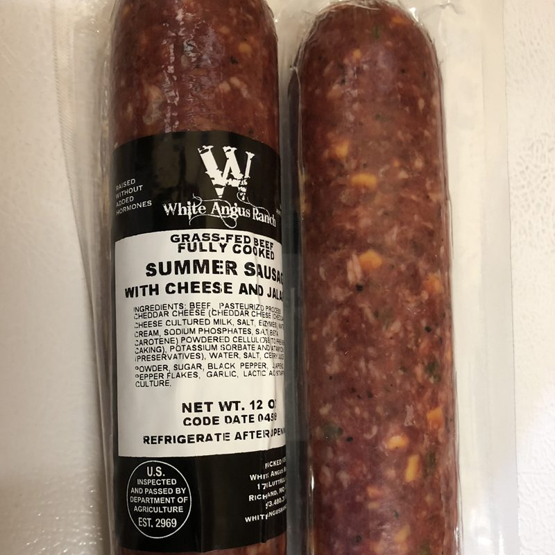 Grass Fed Beef Summer Sausage Cheese & Jalepeno